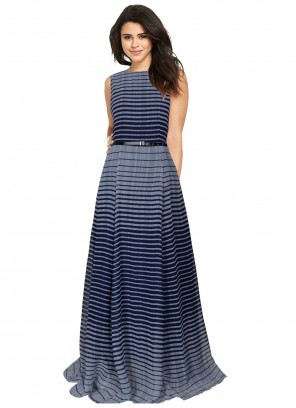 Blue Printed Festival Readymade Gown