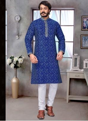 Blue Printed Jacquard Silk Kurta Pyjama