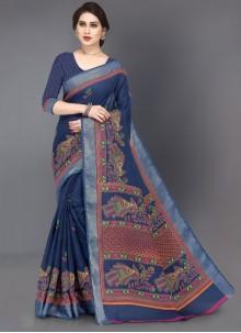 Blue Printed Linen Casual Saree
