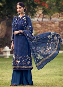Blue Printed Palazzo Suit
