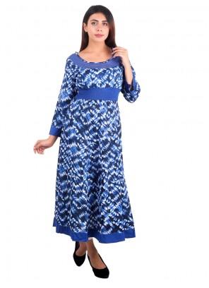 Blue Printed Rayon Casual Kurti