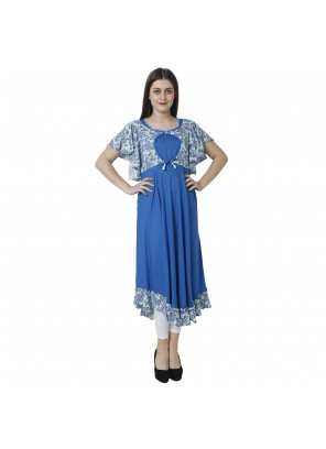 Blue Printed Rayon Designer Kurti