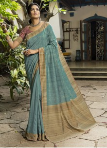 Blue Printed Silk Designer Traditional Saree