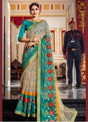 Blue Printed Super Net Designer Traditional Saree