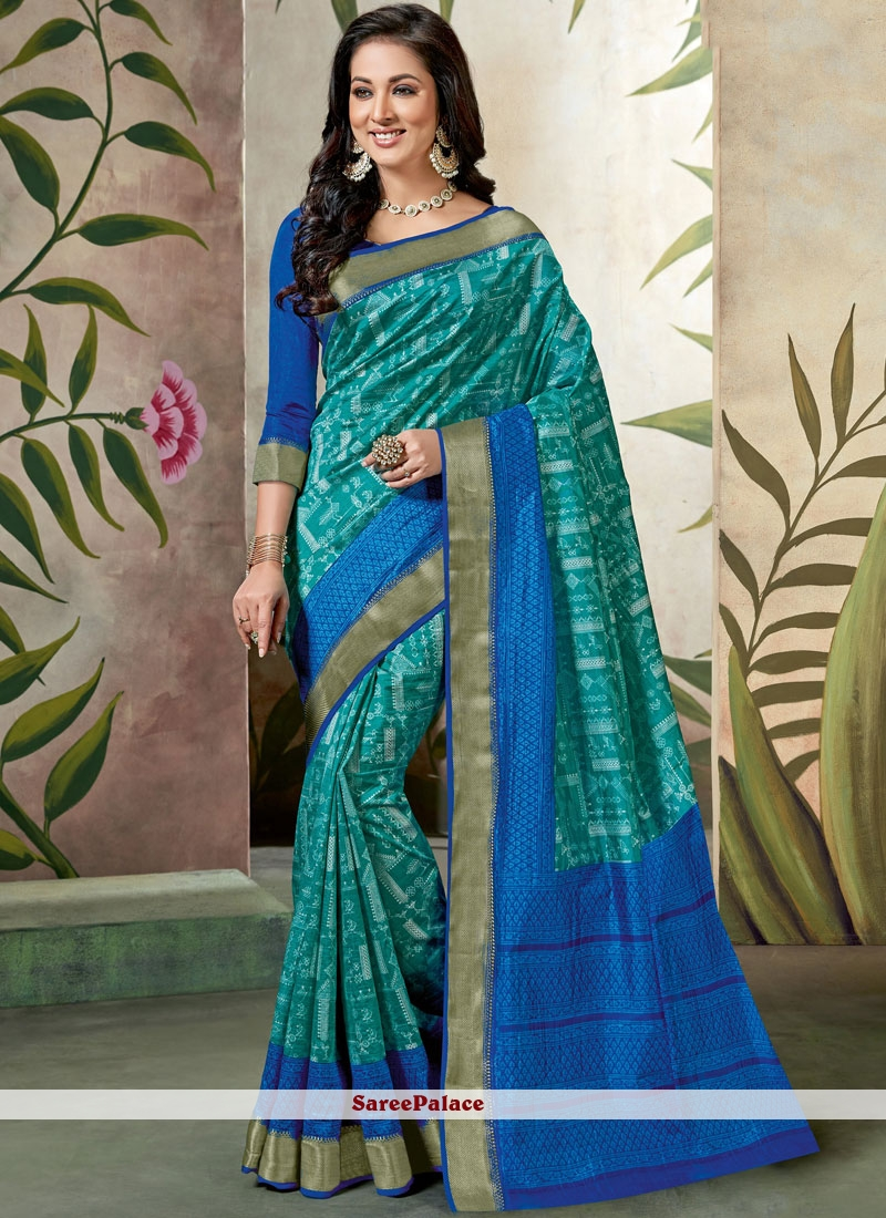 Blue Raw Silk Traditional Saree