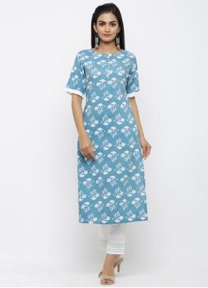 Blue Rayon Ceremonial Salwar Kameez