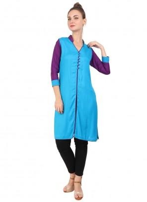 Blue Rayon Fancy Party Wear Kurti