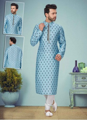Blue Rayon Kurta Pyjama