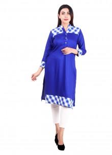 Blue Rayon Mehndi Designer Kurti