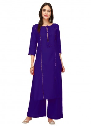 Blue Rayon Party Casual Kurti