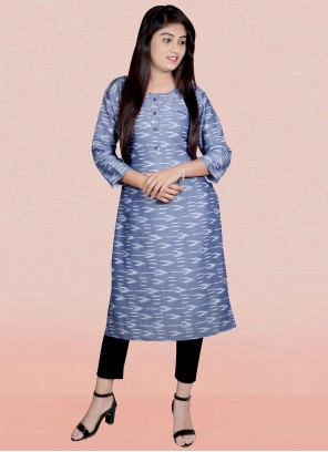 Blue Rayon Printed Party Wear Kurti