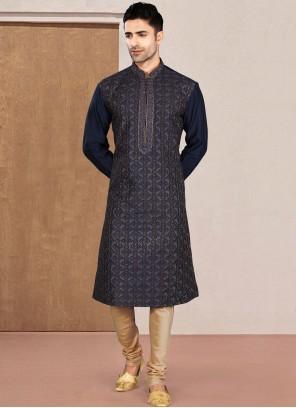 Blue Rayon Plain Kurta Pyjama