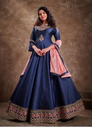 Blue Embroidered Readymade Anarkali Suit