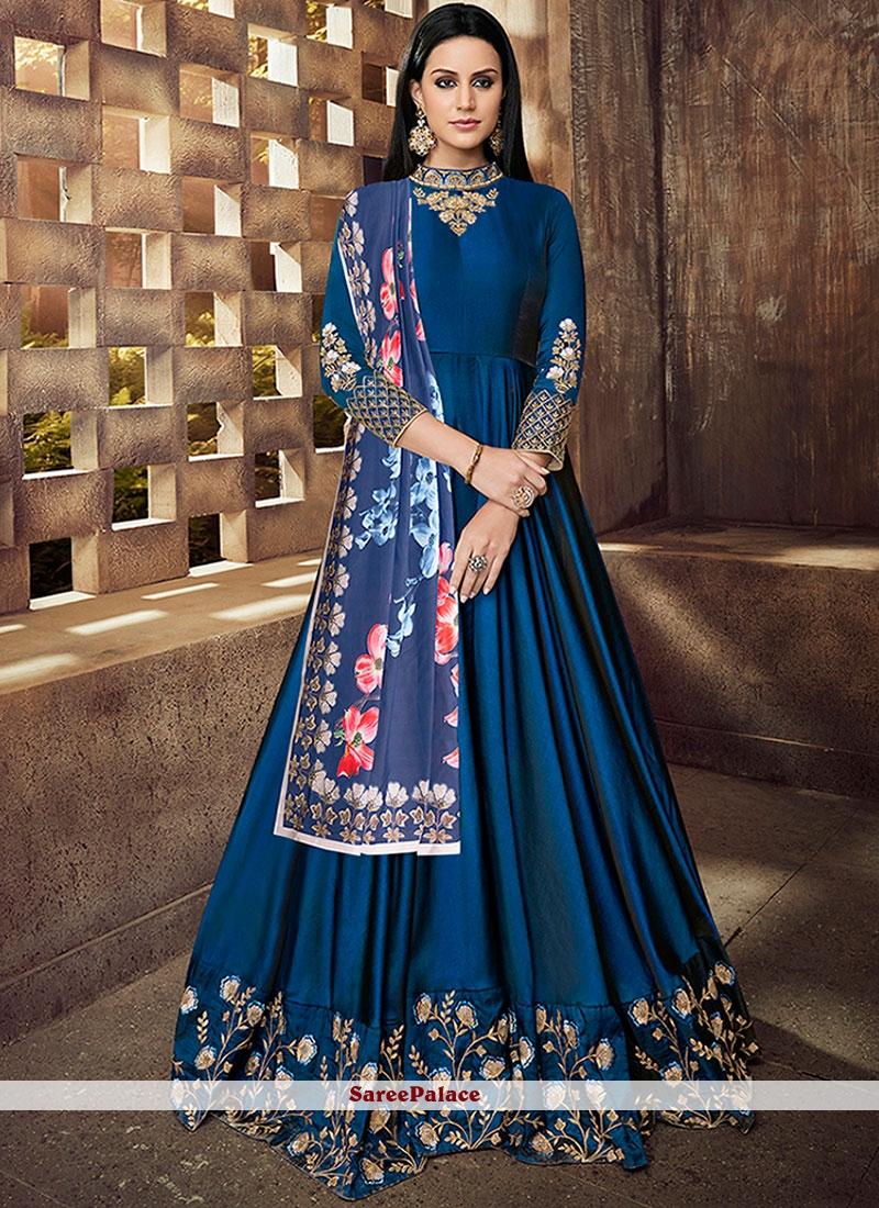 Blue Readymade Anarkali Suit