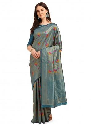Blue Reception Banarasi Silk Traditional Saree