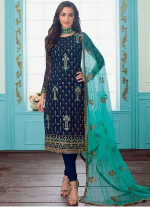Blue Reception Trendy Churidar Salwar Kameez