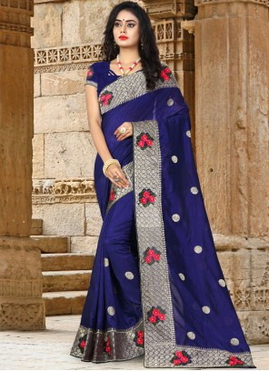 Blue Resham Art Silk Traditional Saree