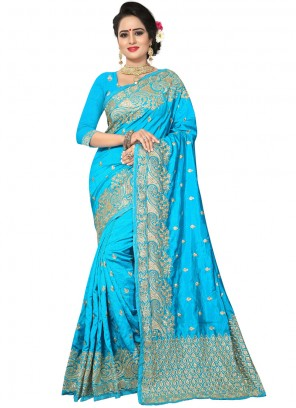 Blue Resham Bridal Traditional Saree