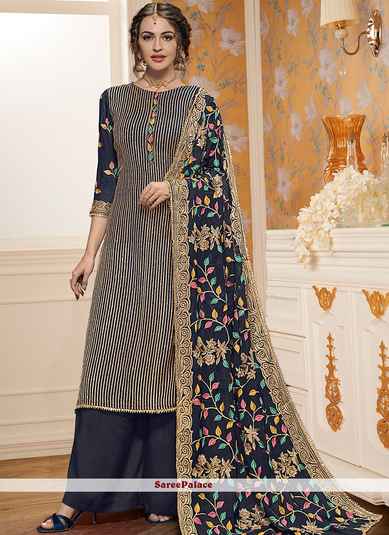 089cfb7a4a Buy Blue Resham Ceremonial Designer Pakistani Suit Online