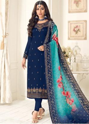 Blue Resham Designer Straight Suit