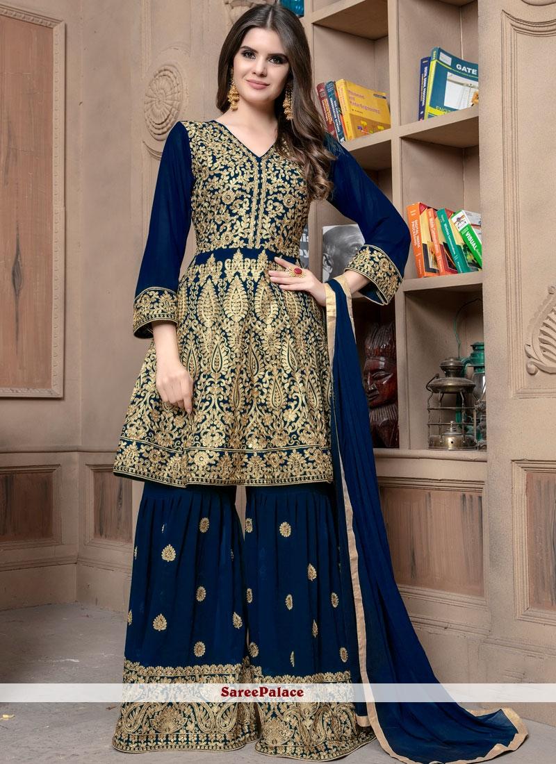 Blue Resham Faux Georgette Designer Palazzo Suit