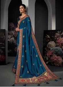 Blue Resham Festival Designer Traditional Saree
