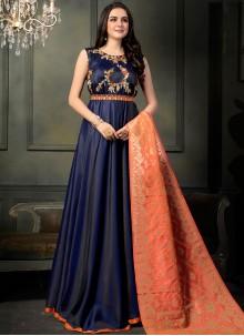 Blue Resham Floor Length Anarkali Suit
