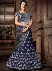 Blue Resham Lehenga Style Saree