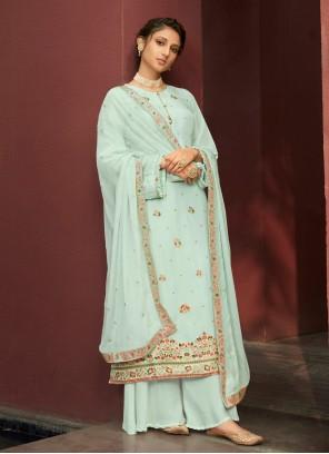 Blue Resham Mehndi Designer Palazzo Salwar Kameez