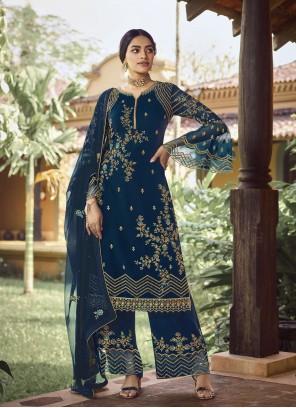 Blue Resham Palazzo Designer Salwar Suit