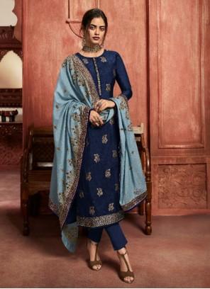 Blue Resham Pant Style Suit