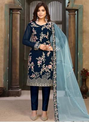 Blue Resham Faux Georgette Pant Style Suit