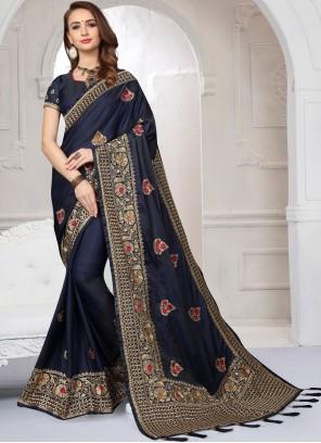 Blue Resham Satin Silk Designer Saree