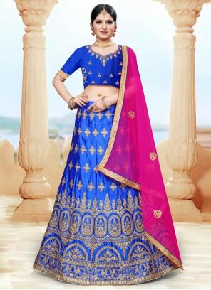 Blue Resham Silk Lehenga Choli