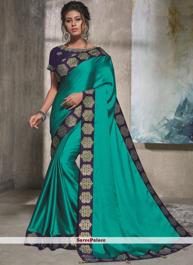 Blue Resham Traditional Saree