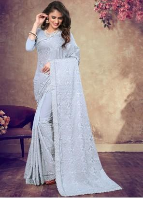 Blue Resham Wedding Classic Saree