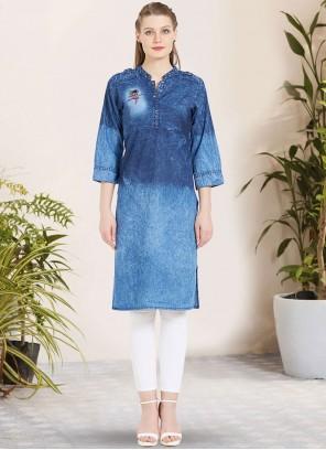 Blue Sangeet Party Wear Kurti