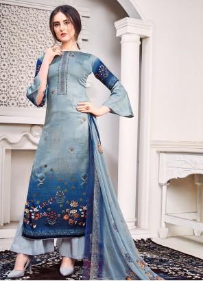 Blue Satin Designer Salwar Kameez