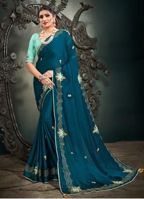 Blue Satin Mehndi Designer Saree