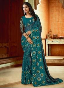 Blue Satin Reception Teal Designer Saree