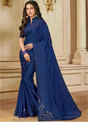Blue Satin Silk Designer Saree