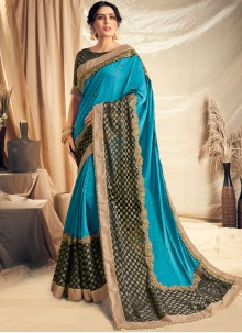 Blue Satin Silk Embroidered Traditional Saree