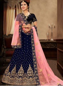 Blue Satin Silk Lehenga Choli