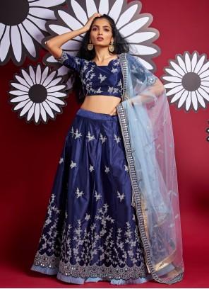 Blue Satin Silk Sangeet A Line Lehenga Choli