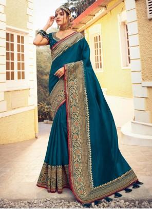 Blue Satin Silk Traditional Designer Saree