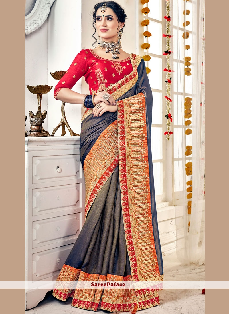 Blue Satin Trendy Saree
