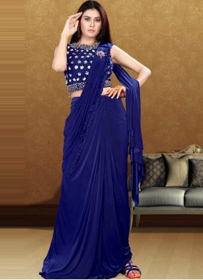 Blue Sequins Designer Saree