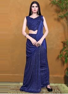 Blue Sequins Festival Designer Saree