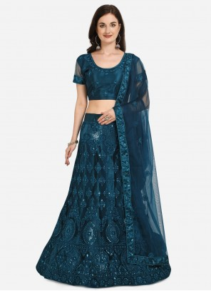Blue Sequins Lehenga Choli