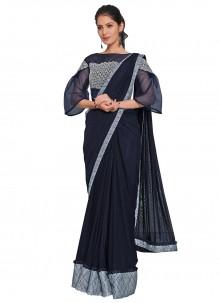 Blue Sequins Net Designer Saree